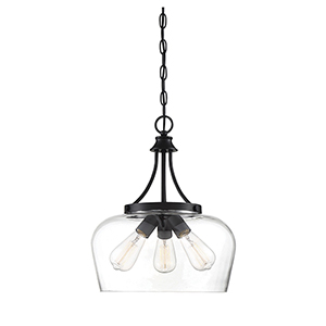 Octav Black Three-Light Pendant