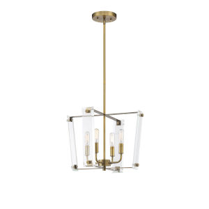 Everett Warm Brass Four-Light Pendant