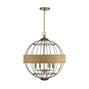Boreal Warm Brass and Natural Rattan Four-Light Pendant
