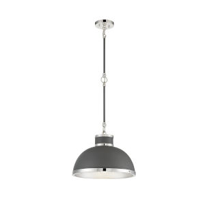 Corning Gray and Polished Nickel One-Light Pendant