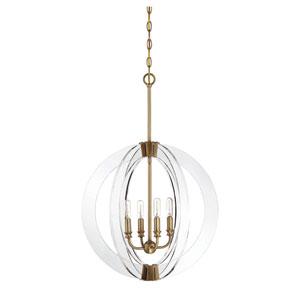 Epsilon Warm Brass Four-Light Pendant