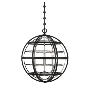 Vega Black and Chrome Three-Light Pendant