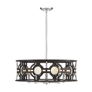 Chennal Bronze and Chrome with Antique Mirror Accents Five-Light Pendant