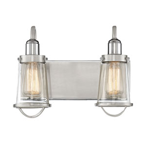 Lansing Satin and Polished Nickel Two-Light Bath Vanity