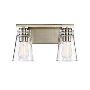 Brannon Noble Brass Two-Light Bath Bar