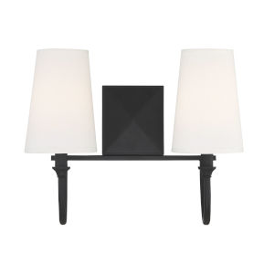 Cameron Matte Black Two-Light Bath Vanity