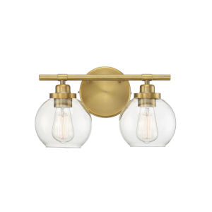 Carson Warm Brass Two-Light Bath Vanity