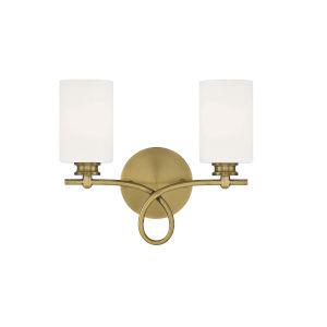 Woodbury Warm Brass Two-Light Bath Vanity