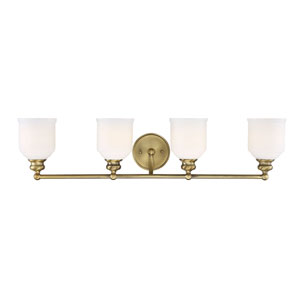 Melrose Warm Brass Four-Light Bath Vanity