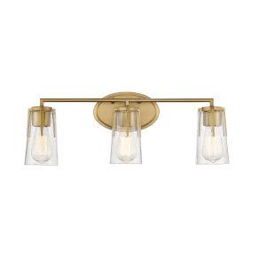 Sacremento Warm Brass Three-Light Bath Vanity