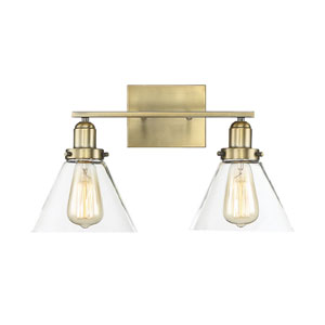 Drake Warm Brass Two-Light Bath Vanity