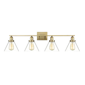 Drake Warm Brass Four-Light Bath Vanity