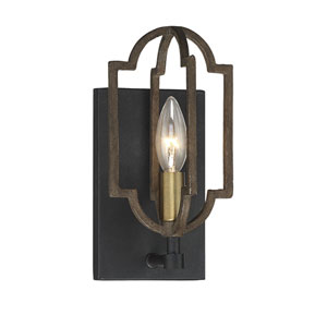 Westwood Barrelwood with Brass Accents One-Light Sconce