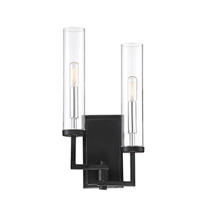 Folsom Matte Black with Polished Chrome Accents Two-Light Wall Sconce