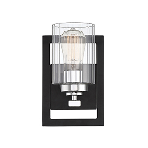 Redmond Matte Black with Polished Chrome Accents One-Light Wall Sconce
