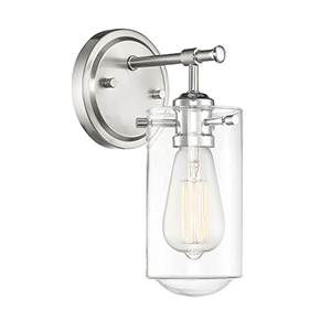 Clayton Satin nickel with Chrome Accents One-Light Wall Sconce