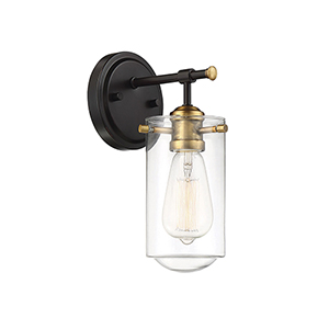 Clayton English Bronze and Warm Brass One-Light Wall Sconce