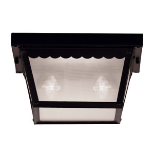 Exterior Collections Black Two-Light Flush Mount