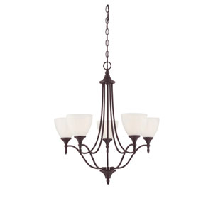 Herndon English Bronze Five-Light Chandelier with Shades