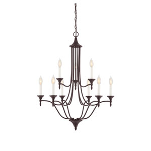 Herndon English Bronze Nine-Light Chandelier
