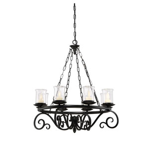 Welch Black Eight-Light Outdoor Chandelier