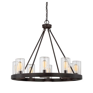 Inman English Bronze Eight-Light Outdoor Chandelier