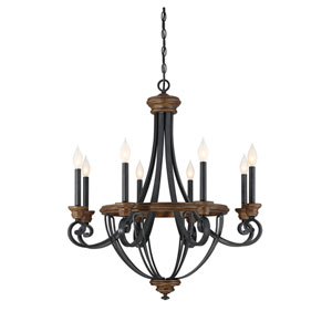 Wickham Whiskey Wood Eight-Light Chandelier