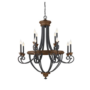 Wickham Whiskey Wood Twelve-Light Chandelier