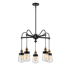 Macauley Vintage Black with Warm Brass Five-Light Chandelier