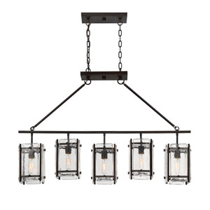 Glenwood English Bronze Five-Light Island Pendant