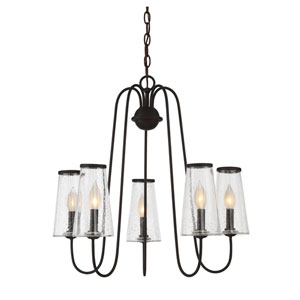 Oleander English Bronze Five-Light Outdoor Chandelier