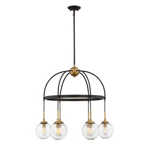 Fulton English Bronze and Warm Brass Six-Light Chandelier