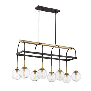 Fulton English Bronze and Warm Brass Eight-Light Chandelier