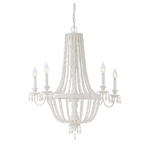 Geneva Porcellan White Five-Light Chandelier