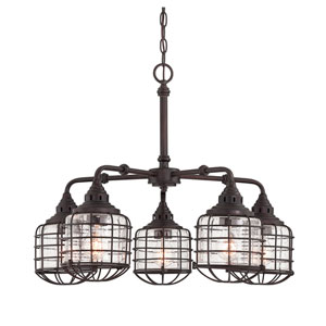 Connell English Bronze 26-Inch Five-Light Chandelier