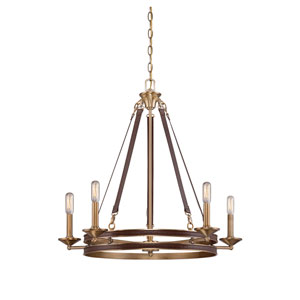 Harrington Harness Leather with Rubbed Brass 28-Inch Five-Light Chandelier