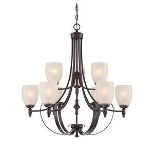 Duvall English Bronze 31-Inch Nine-Light Chandelier