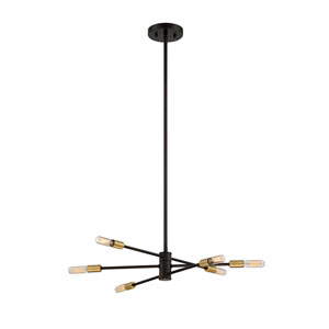 Lyrique Bronze with Brass Accents Six-Light Chandelier