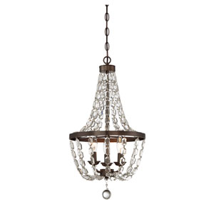 Oiled Burnished Bronze Three-Light Mini Chandelier