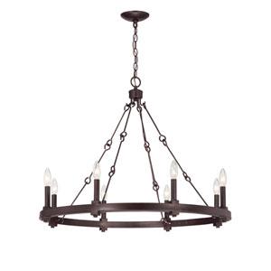 Adria English Bronze Eight-Light Chandelier