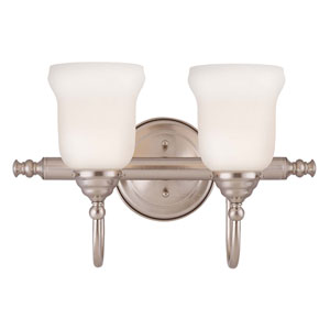 Brunswick Satin Nickel Two-Light Bath Bar