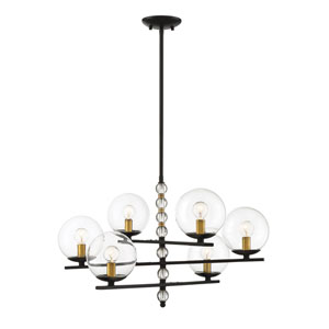 Granville English Bronze and Warm Brass Six-Light Chandelier