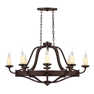 Elba Oiled Copper Eight-Light Oval Chandelier