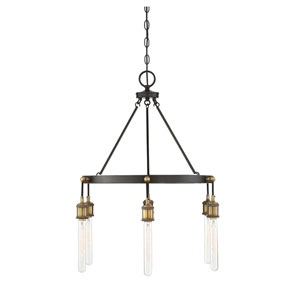 Campbell Vintage Black with Warm Brass Six-Light Chandelier