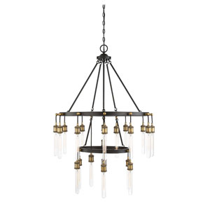 Campbell Vintage Black with Warm Brass Twenty-One Light Chandelier