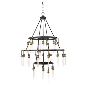 Campbell Vintage Black with Warm Brass Thirty-Five Light Chandelier