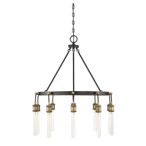 Campbell Vintage Black with Warm Brass Ten-Light Chandelier