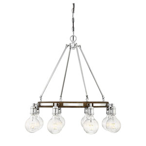 Barfield Polished Nickel with Wood Accents Eight-Light Chandelier