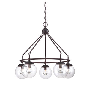 Argo Bronze Five-Light Chandelier