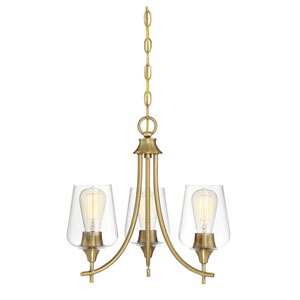 Octave Warm Brass Three-Light Chandelier